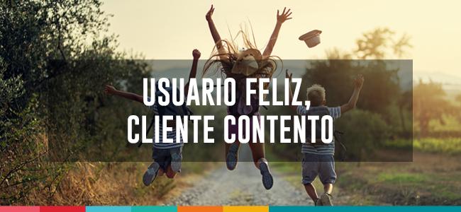 Usuario feliz cliente contento